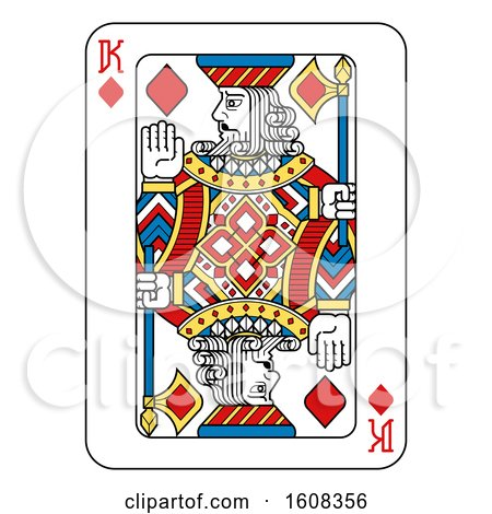 Clipart of a King of Diamonds Playing Card - Royalty Free Vector Illustration by AtStockIllustration