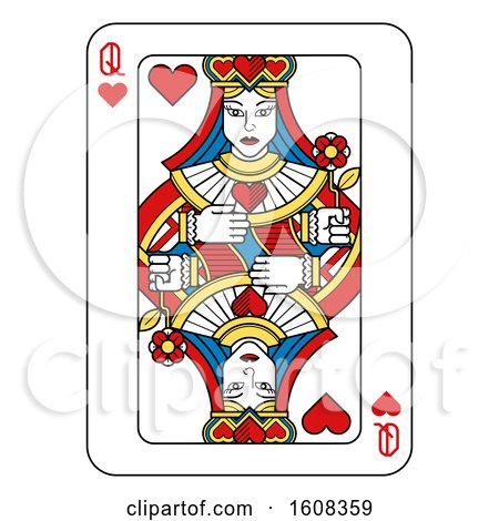 Clipart of a Queen of Hearts Playing Card - Royalty Free Vector Illustration by AtStockIllustration