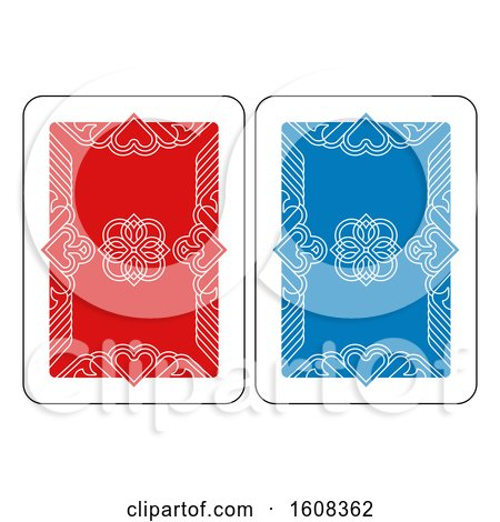 Clipart of a Playing Card Reverse Back in Red and Blue - Royalty Free Vector Illustration by AtStockIllustration