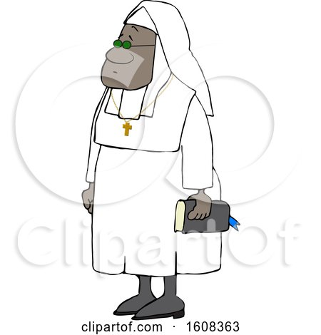 Clipart of a Cartoon Black Nun Carrying a Bible and Wearing a Cross Around Her Neck - Royalty Free Vector Illustration by djart