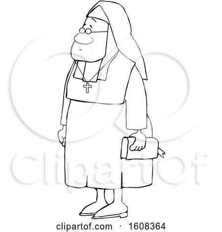Clipart of a Cartoon Lineart Black Nun Carrying a Bible and Wearing a Cross Around Her Neck - Royalty Free Vector Illustration by djart