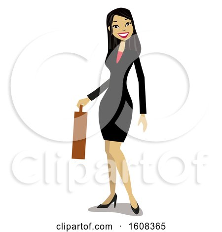 Clipart of a Happy Asian Business Woman Holding a Briefcase - Royalty Free Vector Illustration by peachidesigns