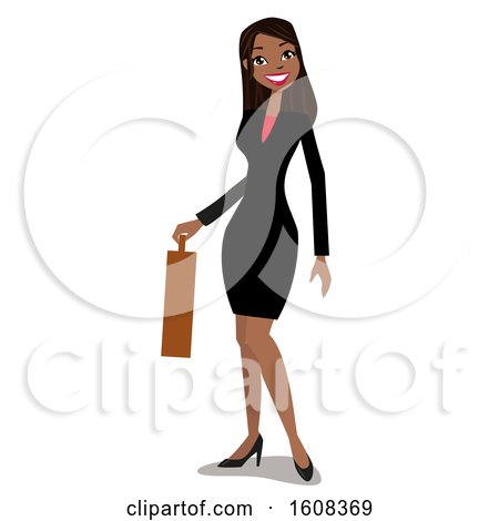 Clipart of a Happy Hispanic Business Woman Holding a Briefcase - Royalty Free Vector Illustration by peachidesigns