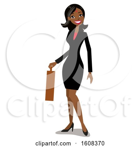 Clipart of a Happy Indian Business Woman with a Bindi, Holding a Briefcase - Royalty Free Vector Illustration by peachidesigns