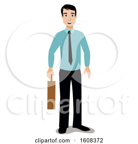 Clipart of a Happy White Business Man Holding a Briefcase - Royalty Free Vector Illustration by peachidesigns