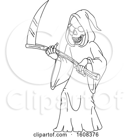 Clipart of a Black and White Grim Reaper - Royalty Free Vector Illustration by yayayoyo