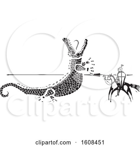 Clipart of a Horseback Knight Spearing a Giant Crocodile - Royalty Free Vector Illustration by xunantunich