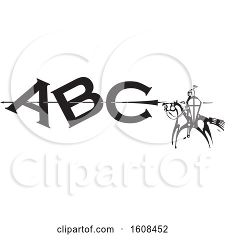 Clipart of a Horseback Knight Spearing Abc, Black and White Woodcut - Royalty Free Vector Illustration by xunantunich