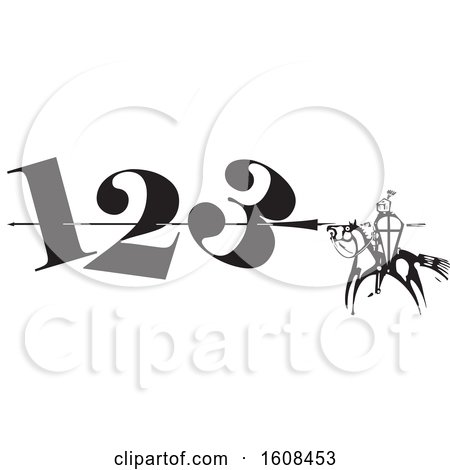 Clipart of a Horseback Knight Spearing Numbers - Royalty Free Vector Illustration by xunantunich