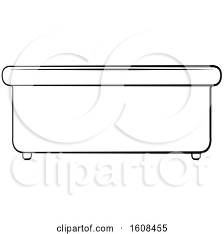 Clipart of a Lineart Bath Tub - Royalty Free Vector Illustration by Lal Perera