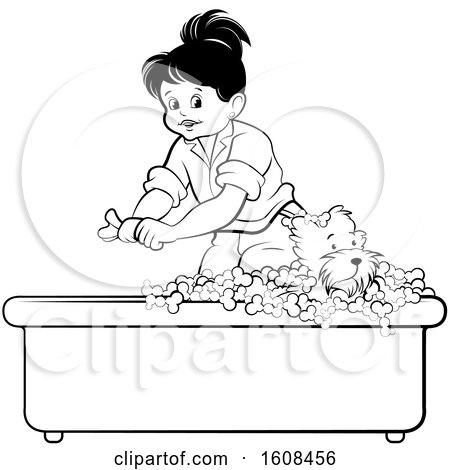 Clipart of a Black and White Girl Bathing a Puppy Dog in a Bath Tub - Royalty Free Vector Illustration by Lal Perera