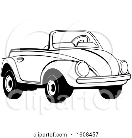 Clipart of a Black and White Toy Slug Bug Vw Volkswagen Car - Royalty Free Vector Illustration by Lal Perera