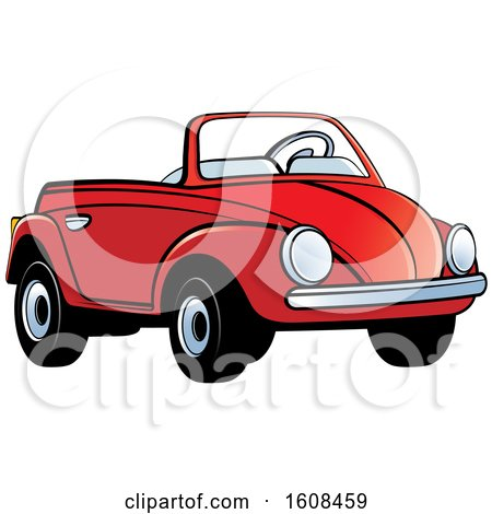 Clipart of a Red Toy Slug Bug Vw Volkswagen Car - Royalty Free Vector Illustration by Lal Perera