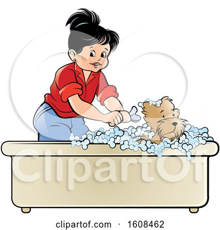 Clipart of a Girl Bathing a Puppy Dog in a Bath Tub - Royalty Free Vector Illustration by Lal Perera