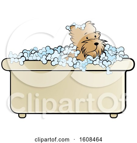Clipart of a Puppy Dog in a Bath Tub - Royalty Free Vector Illustration by Lal Perera