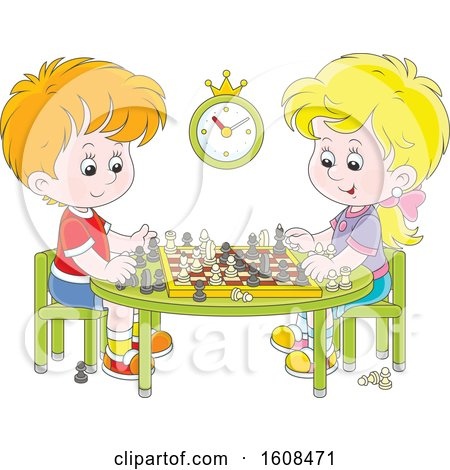 Clipart of a Caucasian Boy and Girl Playing a Game of Chess - Royalty Free Vector Illustration by Alex Bannykh