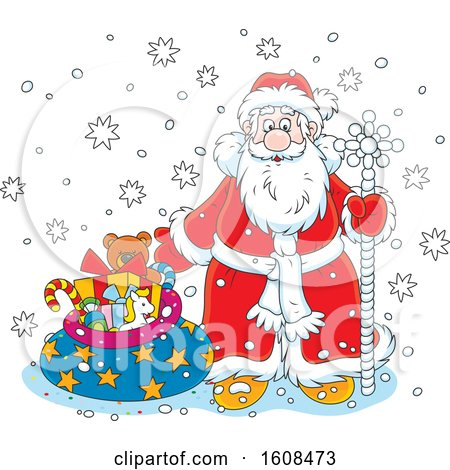 Clipart of Santa with a Staff and Sack of Christmas Gifts in the Snow - Royalty Free Vector Illustration by Alex Bannykh
