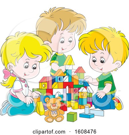 Clipart of a Caucasian Girl and Boys Playing with Toy Building Blocks - Royalty Free Vector Illustration by Alex Bannykh