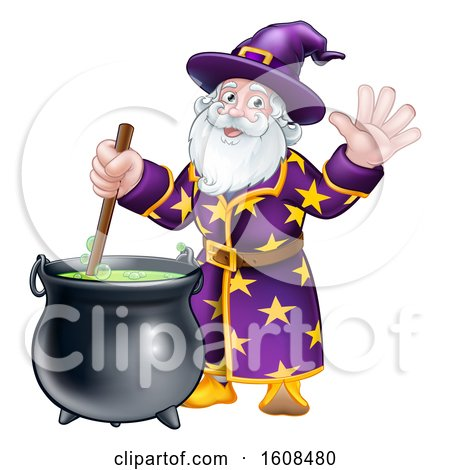 Clipart of a Wizard Mixing a Potion and Waving - Royalty Free Vector Illustration by AtStockIllustration
