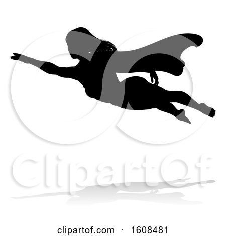 Clipart of a Silhouetted Flying Female Super Hero, with a Reflection or Shadow, on a White Background - Royalty Free Vector Illustration by AtStockIllustration