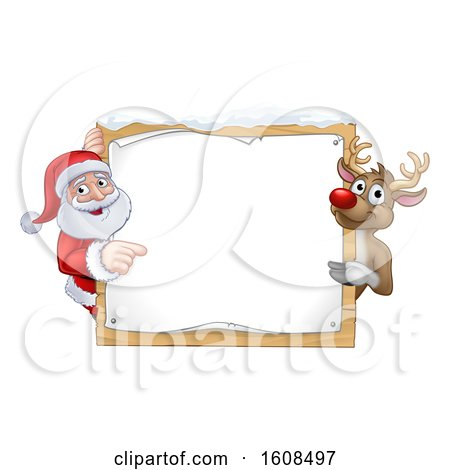 Clipart of a Christmas Santa Claus and Reindeer with a Blank Sign with Snow - Royalty Free Vector Illustration by AtStockIllustration