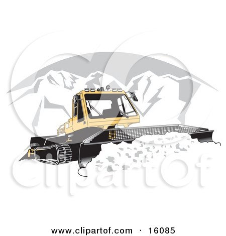 Snowcat Tractor Moving Snow Off Of A Road In The Winter Clipart Illustration by Andy Nortnik