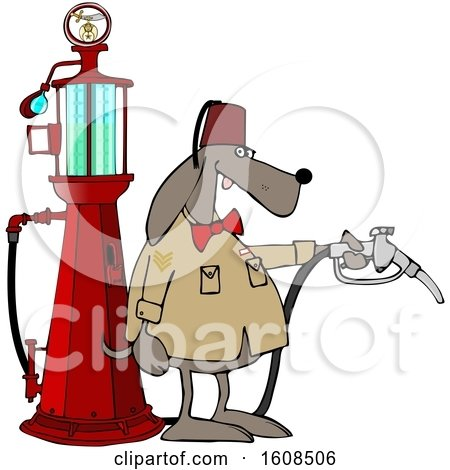 Clipart of a Shriners Dog Attendant by an Old Fashioned Gas Pump - Royalty Free Vector Illustration by djart