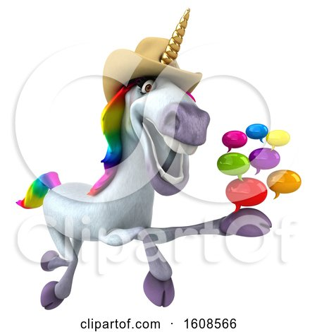 Clipart of a 3d Cowboy Unicorn Holding Messages, on a White Background - Royalty Free Illustration by Julos