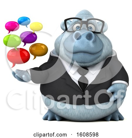 Clipart of a 3d White Business Monkey Yeti Holding Messages, on a White Background - Royalty Free Illustration by Julos