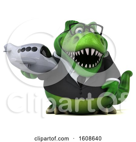 Clipart of a 3d Green Business T Rex Dinosaur Holding a Plane, on a White Background - Royalty Free Illustration by Julos
