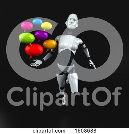 Clipart of a 3d Feminine Robot Holding Messages, on a Black Background - Royalty Free Illustration by Julos