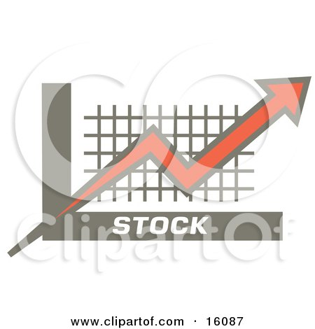 Orange-Red Arrow Going Up Over A Graph, Symbolizing Increasing Stocks Clipart Illustration by Andy Nortnik