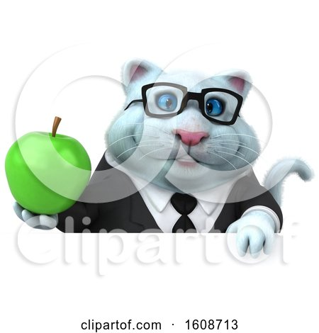 Clipart of a 3d White Business Kitty Cat Holding an Apple, on a White Background - Royalty Free Illustration by Julos