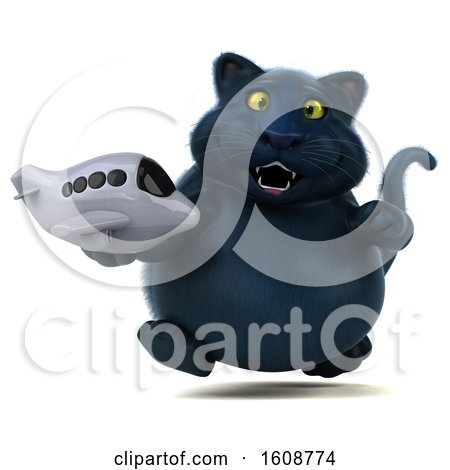 Clipart of a 3d Black Kitty Cat Holding a Plane, on a White Background - Royalty Free Illustration by Julos