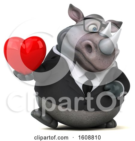 Clipart of a 3d Business Rhinoceros Holding a Heart, on a White Background - Royalty Free Illustration by Julos