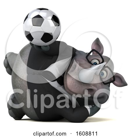 Clipart of a 3d Business Rhinoceros Holding a Soccer Ball, on a White Background - Royalty Free Illustration by Julos