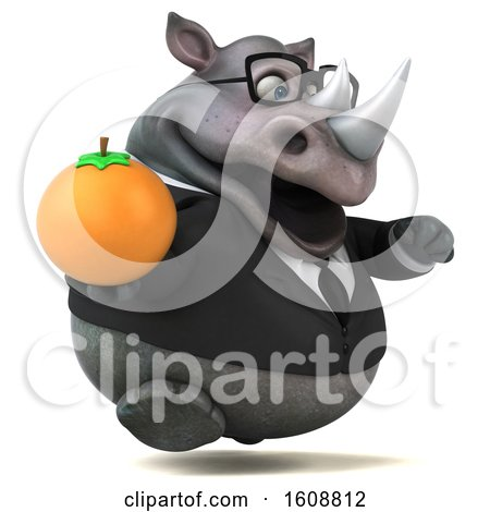 Clipart of a 3d Business Rhinoceros Holding an Orange, on a White Background - Royalty Free Illustration by Julos