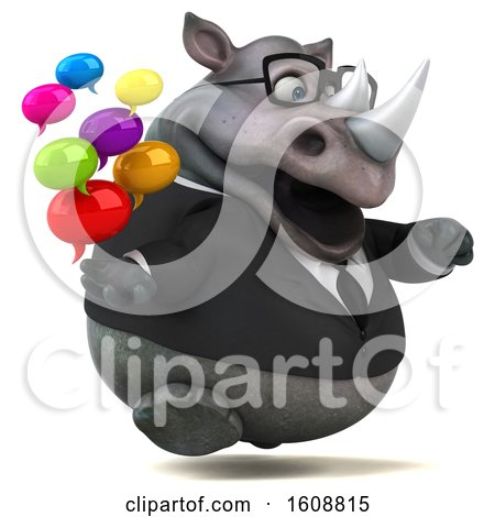 Clipart of a 3d Business Rhinoceros Holding Messages, on a White Background - Royalty Free Illustration by Julos