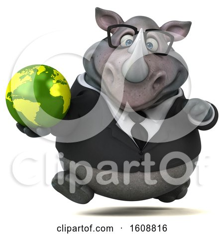 Clipart of a 3d Business Rhinoceros Holding a Globe, on a White Background - Royalty Free Illustration by Julos