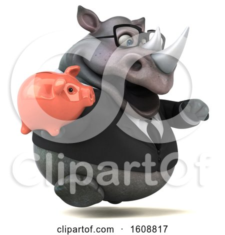 Clipart of a 3d Business Rhinoceros Holding a Piggy Bank, on a White Background - Royalty Free Illustration by Julos