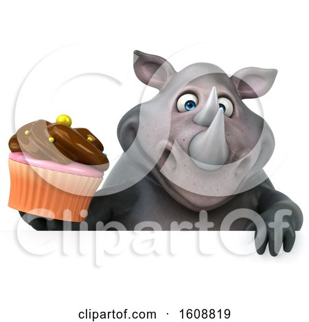 Clipart of a 3d Rhinoceros Holding a Cupcake, on a White Background - Royalty Free Illustration by Julos
