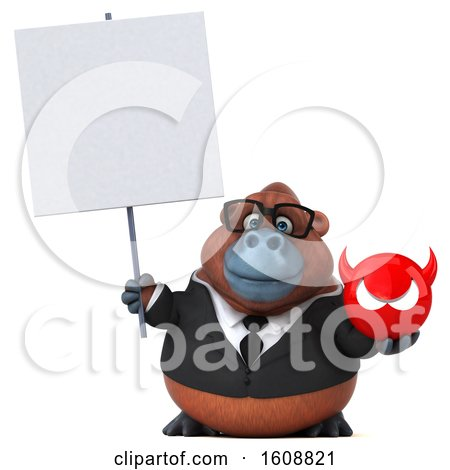 Clipart of a 3d Business Orangutan Monkey Holding a Devil, on a White Background - Royalty Free Illustration by Julos
