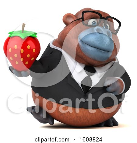 Clipart of a 3d Business Orangutan Monkey Holding a Strawberry, on a White Background - Royalty Free Illustration by Julos