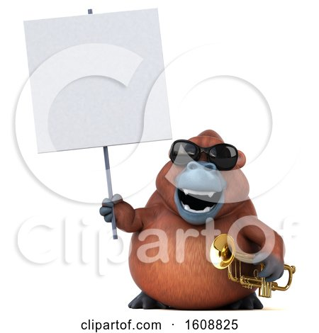 Clipart of a 3d Orangutan Monkey Holding a Trumpet, on a White Background - Royalty Free Illustration by Julos