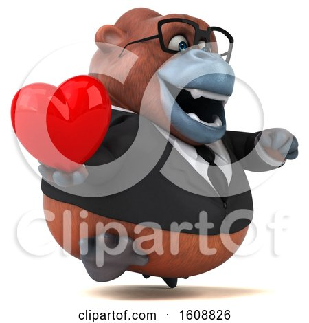 Clipart of a 3d Business Orangutan Monkey Holding a Heart, on a White Background - Royalty Free Illustration by Julos