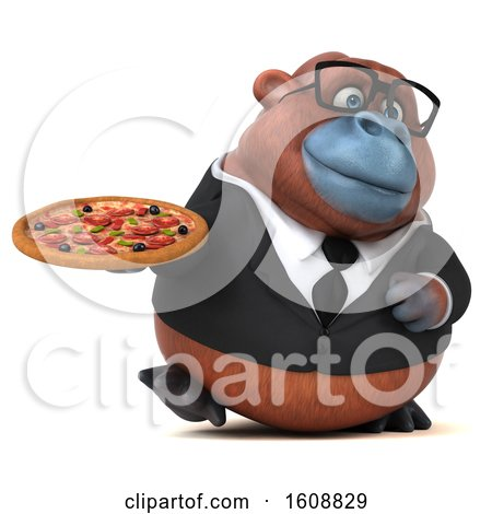 Clipart of a 3d Business Orangutan Monkey Holding a Pizza, on a White Background - Royalty Free Illustration by Julos