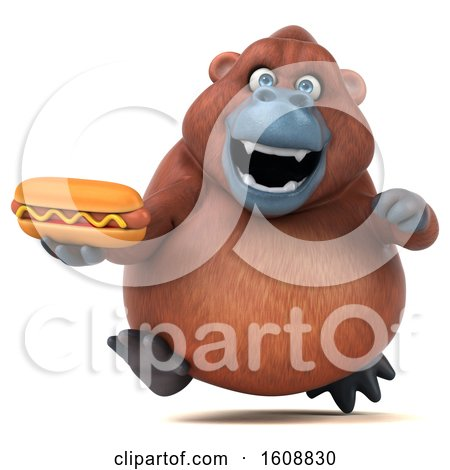 Clipart of a 3d Orangutan Monkey Holding a Hot Dog, on a White Background - Royalty Free Illustration by Julos