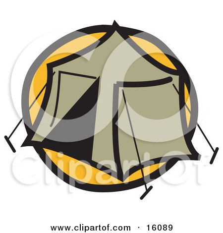 Tent Set Up At A Campground Clipart Illustration by Andy Nortnik