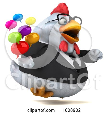 Clipart of a 3d White Business Chicken Holding Messages, on a White Background - Royalty Free Illustration by Julos