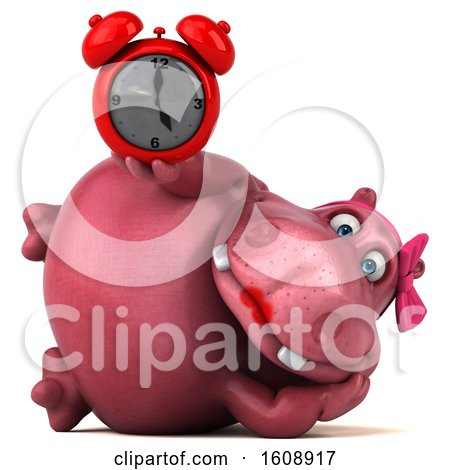 Clipart of a 3d Pink Henrietta Hippo Holding an Alarm Clock, on a White Background - Royalty Free Illustration by Julos